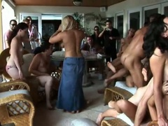 Hot summer party with an orgy of engulfing and fucking