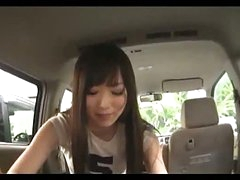 Asian Girl Sucking Man Pecker Giving Handjob Cum To Hand In The Back Of The Car