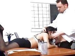 Busty secretary in sheer hose has office sex