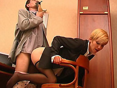 Excited co-worker sniffing high heel shoes whilst fucking sexy gal in darksome pantyhose