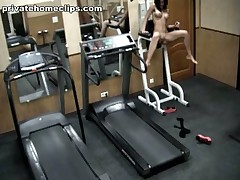 Just look at this vicious brunette hair hottie going crazy in the gym when alone! 1st she's exercising in no thing but nylon pantyhose and then she's stripping it likewise and widening her kewl legs wide as if gagging for deep penetrations!