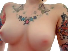 The flawless emo girlfriend featured on this oozed intimate webcam movie scene is wearing nothing but her sexy tattoos while this babe fingers her pussy and ass for her cyber show fans! That babe fucks herself with dildos too!