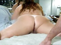 This is what my wife finds majority arousing - lying  with her legs wide apart, letting me drill her pussy and asshole with dildos. And this is her first anal sex vid!