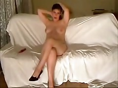 This curvy fem felt very shy posing before her BF's cam at first but then that honey relaxed and teased him with her full boobs and soaking pussy.