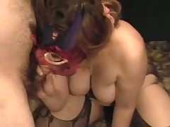 A lady with big tits receives herself off with a toy as I engulf her breasts. She cums loudly then sucks the cum out of my cock swallowing the load. Groaning with glee this babe then rubs my wet drained ramrod on her nipple.