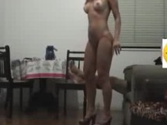 Sex goddess with long flowing hair knows how to please her BF visually by getting naked in her heels and showing a little pubic hair line on her cunt. He fucks her hard core on the chair and makes them one as well as the other cum.