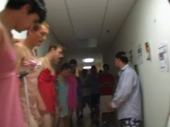 Wicked seductive bodybuilders dressed like stunning prostitute, enjoy