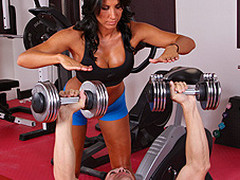 Lezley Zen's working as a personal coach and this babe's got a fresh client, but this sweetheart doesn't know which of the two guys it is in the gym. Johnny Sins tricks the other fellow into leaving the gym so this chab's alone for some one on one time with Lezley. First Lezley shows him some proper ways to toning some muscles, then later Johnny shows Lezley some sexy work outs that gets her sweating!