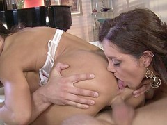 Darksome Brown MILFs Francesca Le and Lisa Ann love to share, especially when it comes to sex.  They take turns French giving a kiss and feeling every other's bodies in advance of going to work on this fortunate guy's hard rod.  They have a wild time taking turns banging him in advance of they kneel down for the double facial.