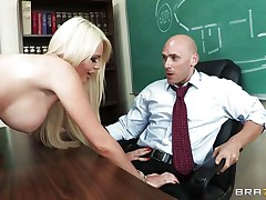 This hot golden-haired schoolgirl with perfect boobs, lengthy hot legs and hairless tight cum-hole is masturbating thinking about her teacher. After hours this playgirl makes her dream a reality and strips in front of this fortunate guy, showing her hot body, perfect milk cans and gorgeous ass, making him very happy. Do you think this playgirl will gulp his semen?
