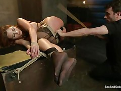 After breaking her self esteem it's time for that sexy ass to be exploited. Kenzie finds out that this babe loves being treated like a worthless doxy and when the executor fingers her and spanks those sexy legs this babe supplicates for more. A big hard schlong enters her taut anus, making Kenzie moan with great lust.