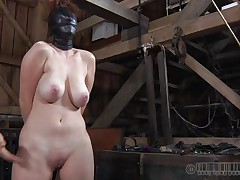 This fucking whore gets what this babe deserves. All tied up and with her face covered with leather mask, this babe expects full love tunnel treatment. The mysterious man plays hard with her nipples and love tunnel and is driving her crazy. That guy uses magic electric wands filling Holly with raunchy desires. Let`s see her servitude fantasies!