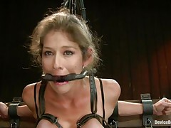 She's caught in that slavery device for your pleasure. Watch how taut she's bound in it? Yeah, this wench can't live without it that way and this babe will receive a treatment hard to forget and forgive. That hot wazoo of hers is getting whipped hard and this babe moans with pleasure and pang previous to getting her squeezed bazookas whipped too. That babe was a very bad angel and now is time for some sex toys, a sex toy on the clit will do just right but do you think this babe merits more?