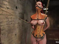 That hottie was a very bad milf, that hottie dominated and fucked a lot of cuties and now it's time for her to be disciplined. Her pussy is beginning to get truly soaked 'coz the brunette domina bound her, added clamps on her nipples and pulled 'em hard. That hottie is immobilized and now has to suffer until that hottie will become an obedient slut.