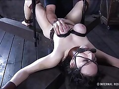 This brunette is milky white and her cum-hole is so tight and perfect that they had to gape it and reveal the inside of it. Have a fun watching this bitch in a uncomfortable position as her big soft love muffins are squeezed and sucked and her mouth gagged. Four clamps are added on her charming cum-hole to gape it for our sight