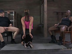 She's sexually broken in a way that that sweetheart deserves. Ava always liked to engulf a cock and this time that sweetheart does it blindfolded. 2 fellows are sitting on chairs, one white and the other one black. This sweetheart sucks them one at the time, not knowing who is who. Perhaps the taste of cum will make a difference.