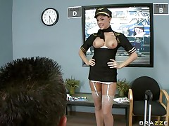 Look at this gorgeous brunette hair as she loves playing her role as a stewardess. Are her lengthy sexy legs, juicy lips and sexy bumpers going to get some loads from this happy customer or is this guy going to fuck that nice perfect taut ass with his hard cock making this bitch moan with pleasure?