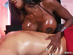 When a hot woman with large melons wearing no thing but high heeled leather boots and sexy lingerie, coated in oil, want to give u a massage, there is no way u can say no! And when this babe begins working your schlong with her mouth, u know you're in heaven. Her reward is a priceless shagging!