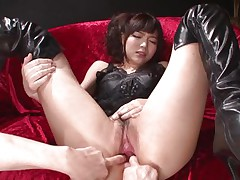 This innocent looking fur pie named Megumi is a fucking whore. She was laying on that sofa burning with lust when I came and start playing with her holes. Megumi offered her butt and enjoyed what I did to it. Using some sex toy I glad this bitch and stuffed her rectal gap and that juicy and juicy pussy.