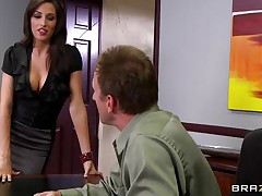 Look at that hawt brunette hair telling her boss to come in the storage room so that babe can chastise him for trying to fuck them. Two of her allies come along and they get lustful on that chaps cock. Are they going to get some goo on their hawt lips or some hard cock in their taut pussies?