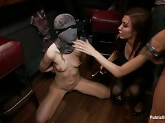 She had her whole face covered in a mask they cut open a gap in front of her face gap and used that gap to insert a large strong weenie into her mouth. fat lady gets a bit of coddling from the chap before he gets back to fucking the face gap of the tied up girl and punishing her they want to fuck her hard.