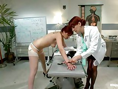 This is the kind of doc that you will barely wait to see. She's a devilish redhead with a excitement to dominated, especially other sluts! Her patient came for a routine check and discovered herself undressed and arse slapped until that hot arse turned red. Now that the doc slapped her she licks her booty with passion.