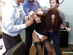 Ava Addams is a hawt French lady with nice large titties and wide ass. This hawt milf got attention of several of her colleagues and one day they decided to team fuck her at the office. So, James, Danny and Ramon get crazy in her presence and strips her against her will and they start fucking her with pleasure!