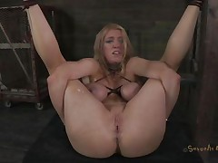 Bound up and with her legs widen this blonde experiences some hard fucking. The executor shows her no mercy and fucks her vagina deep and hard during the time that chocking her. She barely stands what that chap does and maybe a harder castigation will make this blonde even greater quantity unrepining