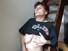 Old lady Vlasta gets so turned on on a ladder and takes her clothes off, during the time that touching her vagina and tits so hard. That babe keeps fingering her wet snatch and moaning with so much pleasure. Then, the bitch sits down and widens her legs 'coz she is ready to cum on a little red slide. Wanna know how this`ll end?