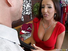 Johnny Sins is getting on one of his workers for trying to  steal something. Look at her lengthy hair, her big fat tits and the way this honey groans while he licks her hard nipples. Do u think this honey is going to take some cock in that messy mouth?