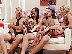 These blond and darksome haired hotties are with these 2 guys and looks like they are playing some kind of fun games. But in a short time they begin to have some sexual fun! Right after that, they all receive into the baths and one as well as the other of these 2 lewd hotties begin sucking one of the guy's cock!