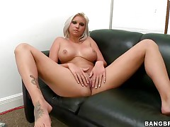 Slut with short blond hair, Deadra Dee, is showing her big scones and widening her legs as this babe spreads her cookie for you too. See her wet cookie as this babe is masturbating for pleasure. On a couch, awaiting for a 10-Pounder with her undressed body this bitch is ready to get fucked hard. And as a rod came, this babe started oral-service instantly!