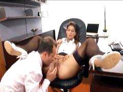 His secretary likes a large boner in her aperture