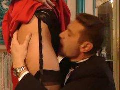 Smokin' hot Euro in a pleasing dress drilled