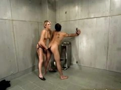 Hawt femdom in jail cell includes ding-dong