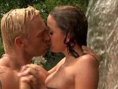 Cock-Craving Brunette Poppy Morgan Gets Fucked Doggy Style Outdoors