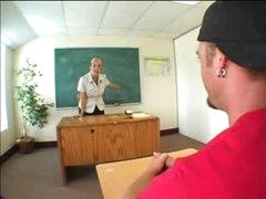 Heavily tattooed golden-haired teacher screwed