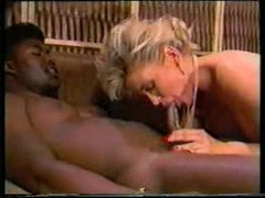 2 dark guys fuck white whore in classic video