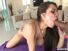 Yurizan Beltran shoves a stiff ramrod down her mouth